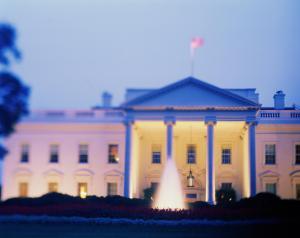 USA, Washington D.C., White House, Spring, dusk (selective focus)