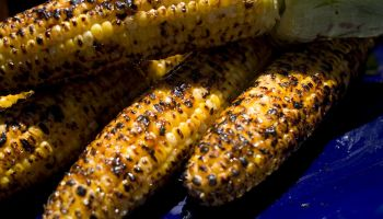 Cambodian Grilled Corn is basted with a mix of coconut milk and