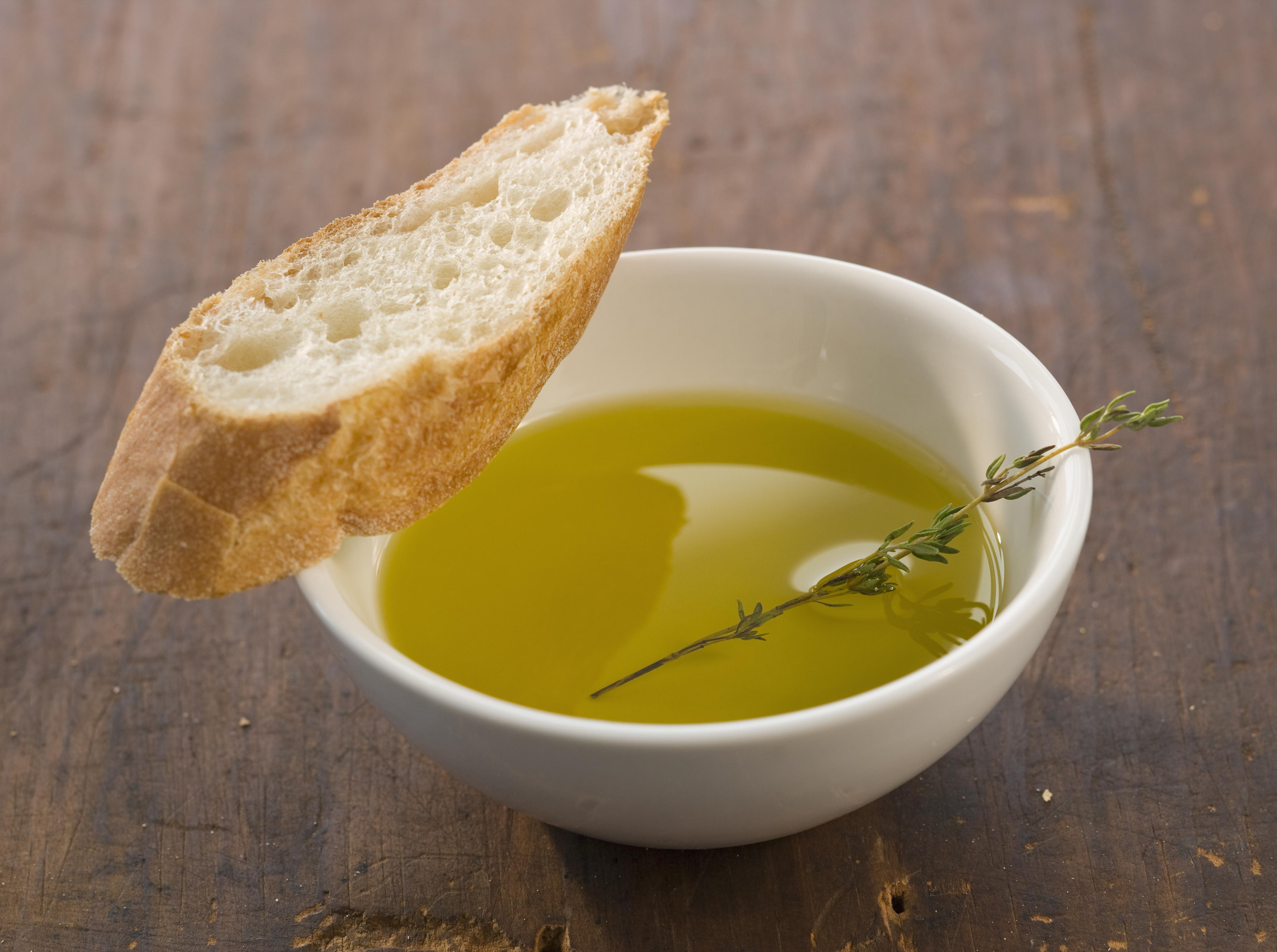 Slice of bread and olive oil, close-up
