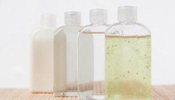 Close up of massage oil bottles