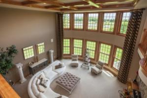Amazing Great Room With Hardwood Lattice Ceiling