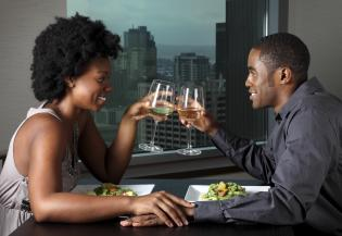 African American Couple on a Dinner Date