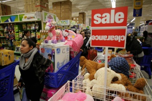 Torrance, California November 22, 2012 Black Friday shoppers lined up and rushed into a Torrance Toy