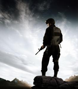 Soldier on a vantage point