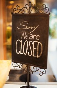 Sorry we re closed sign in a fashion boutique in Tokyo, Japan.