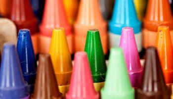 Macro close up of colorful wax crayons