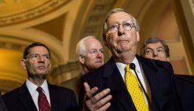 Senate Legislators Speak To The Media After Their Weekly Policy Luncheons
