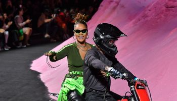 Rihanna Took Her 'Bows' at the Finale of the Fenty Puma by Rihanna Spring Summer 2018 Fashion Show on the Back of a Motorcycle.