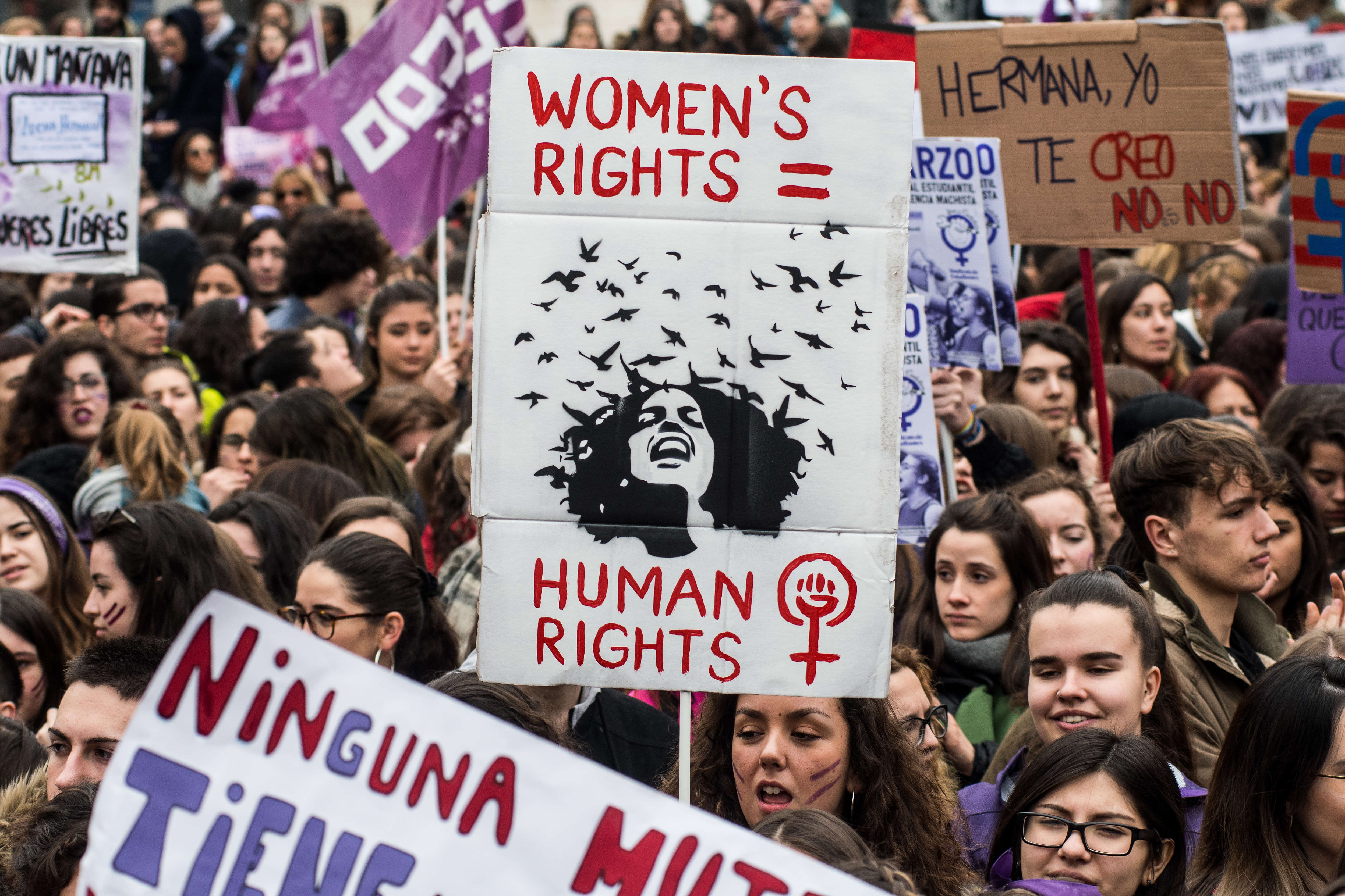Women protesting during the first women strike ever in Spain...