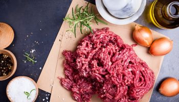 Organic homemade minced meat on craft paper