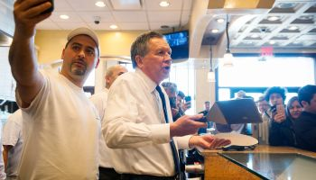 Republican Presidential Candidate John Kasich Makes Campaign Stop At Pizzeria In Queens, New York