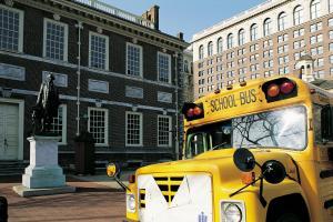 School bus. Independence Hall. Philadelphia. USA