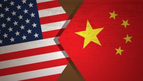 Conflict concept of USA and China flag