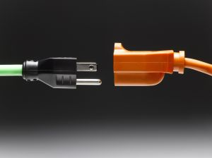 Male and female electrical plugs, close-up, side view