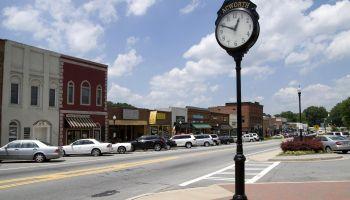 Main street in Acworth, Georgia, United States.