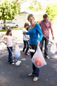 Family Picking Up Litter