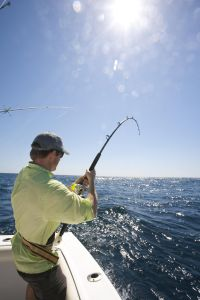 Man with Sailfish on bending fishing rod on boat.