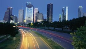 Traffic on the road at night, Allen Parkway, Houston, Texas, USA