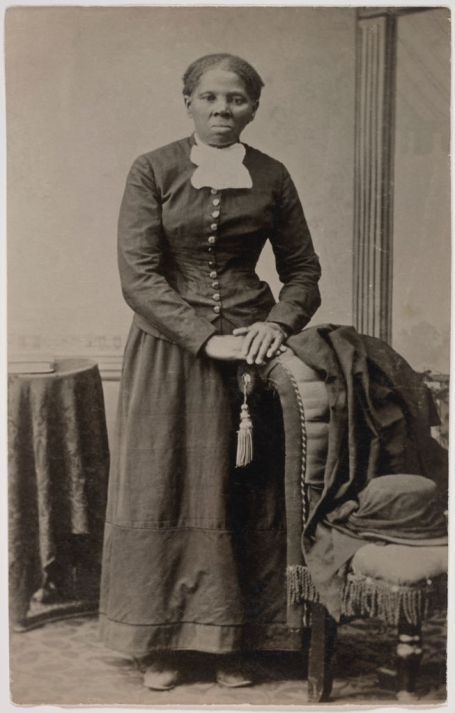 Harriet Tubman 1820-1913, American Abolitionist, Full-Length Standing Portrait with Hands resting on Chair by Harvey B Lindsley, early 1870s