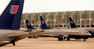 July 2004: O'Hare International Airport in Chicago: United Airlines is facing economic problems in m