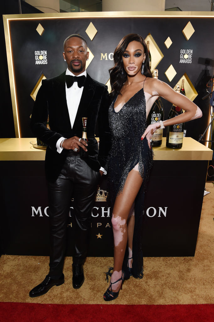 LaQuan Smith and Winnie Harlow in LaQuan Smith