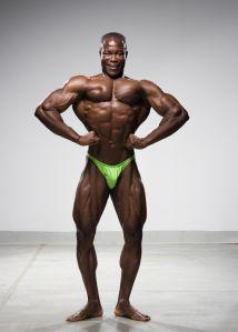 Male body builder posing, portrait