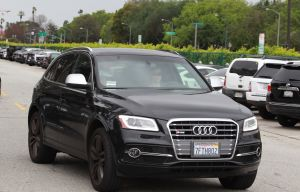 Amy Adams spotted out shopping in an Audi that has two different license plates on the front and back